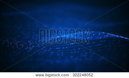 Technology Binary Data Wave Background Concept.beautiful Motion Waving Dots Texture With Glowing Def