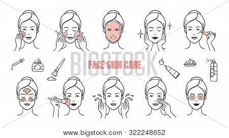 Face Skin Care Icons. Makeup Removal And Dermatology Infographic Elements, Facial Masks And Skincare
