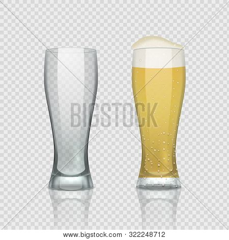 Beer Glass Cups. Empty Transparent Mug And Full Mug, Realistic 3d Beer Pint. Vector Tall Drink Glass
