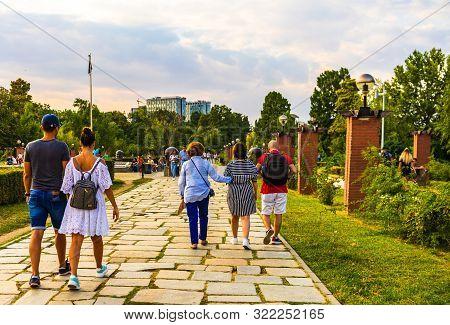 People Walking And Having Fun In King Mihai I Park (herastrau Park) In Bucharest, Romania, 2019.