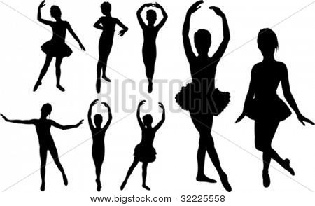 Set of ballet girls dancers silhouettes