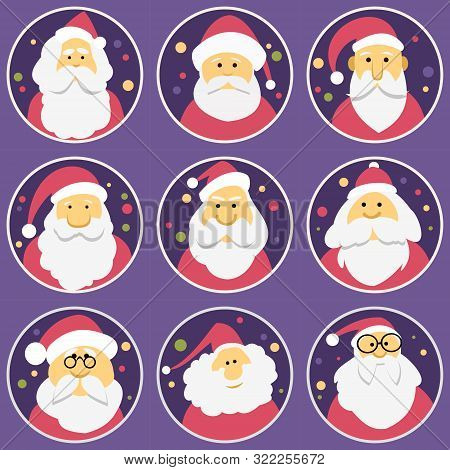 Set Of Diverse Faces Of Santa Clauses, Set Of Icons. Christmas And New Year.