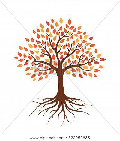 Tree With Autumn Leaves And Roots. Isolated On White Background. Flat Style, Vector Illustration.