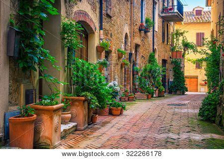 Admirable Traditional Tuscany Street View. Spectacular Medieval Stone Houses And Narrow Cute Paved S
