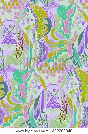 Abstract Pattern With Elements Of Feathers Of Birds And Fish. Pattern With Animal Textures