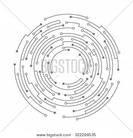 Abstract Circuit Board. Vector Technology Background. Round Shape Consisting Of Dots And Lines