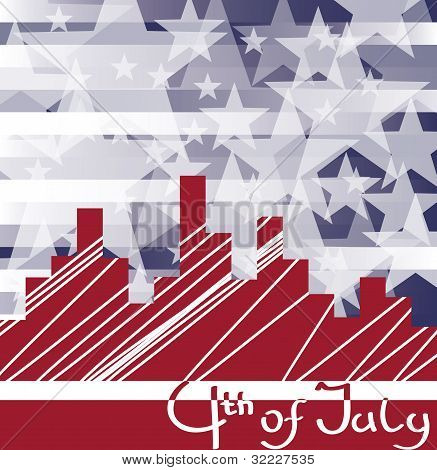 Background Cityscape With Fireworks And  Scribed Fourth Of July. No Fonts Were Used.