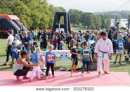 Stockholm - Sept 08, 2019: Karate, One Of The Activities For Kids At Generation Pep Day In Hagaparke
