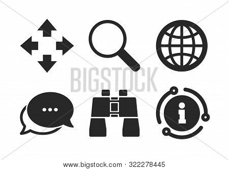 Fullscreen Arrows And Binocular Search Sign Symbols. Chat, Info Sign. Magnifier Glass And Globe Sear