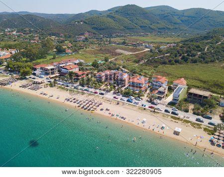 Aerial photo of the beautiful beach on Sitonia, Chalkidiki region, Greece
