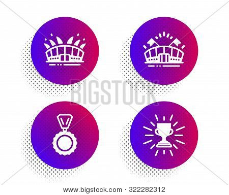 Sports Arena, Medal And Arena Stadium Icons Simple Set. Halftone Dots Button. Trophy Sign. Event Sta