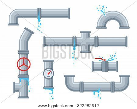 Pipe With Leaking Water. Broken Pipes With Leakage, Plastic Pipeline Rupture. Dripping Drain Faucet,
