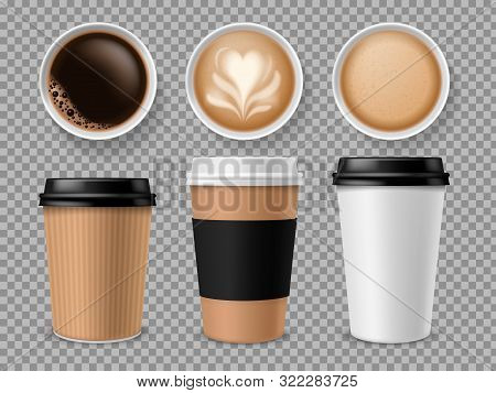 Top View Of Coffee Cup. Espresso And Latte Or Cappuccino In Takeaway Paper Cups Isolated Vector Prof