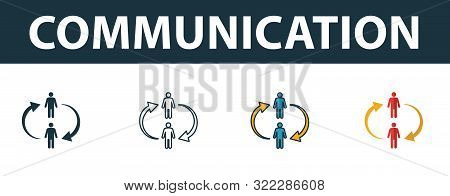 Communication Icon Set. Four Simple Symbols In Diferent Styles From Soft Skills Icons Collection. Cr