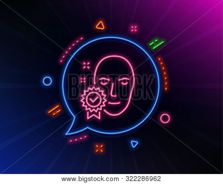 Face Verified Line Icon. Neon Laser Lights. Access Granted Sign. Facial Identification Success Symbo