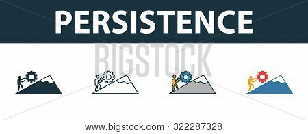 Persistence Icon Set. Four Simple Symbols In Diferent Styles From Soft Skills Icons Collection. Crea