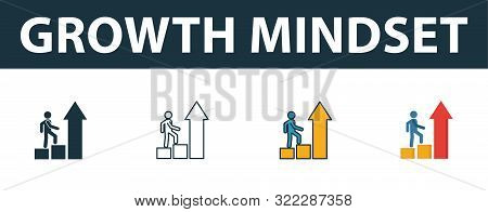 Growth Mindset Icon Set. Four Simple Symbols In Diferent Styles From Soft Skills Icons Collection. C