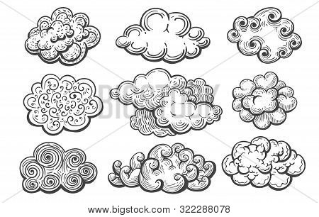 Doodle Clouds. Art Lines Sketch Cloud Collection, Hand Drawn Scribble Vintage Overcast Sky Drawings