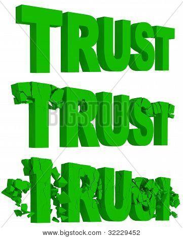 Rachaduras e desintegração da palavra confiança