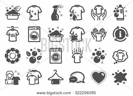 Laundry Icons. Dryer, Washing Machine And Dirt Shirt. Laundromat, Hand Washing, Soap Bubbles In Basi