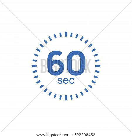 60 Second Timer Clock. 60 Sec Stopwatch Icon Countdown Time Digital Stop Chronometer