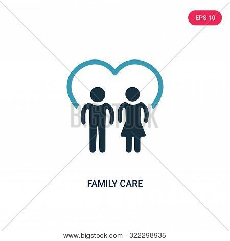 Family Care Icon In Two Color Design Style. Family Care Vector Icon Modern And Trendy Flat Symbol Fo