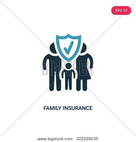 Family Insurance Icon In Two Color Design Style. Family Insurance Vector Icon Modern And Trendy Flat