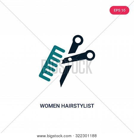 women hairstylist icon in two color design style.