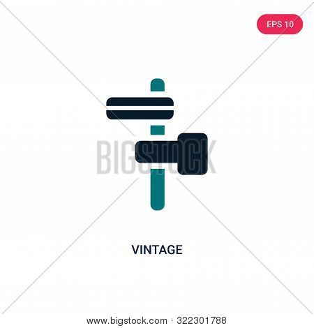 Vintage Icon In Two Color Design Style. Vintage Vector Icon Modern And Trendy Flat Symbol For Web Si
