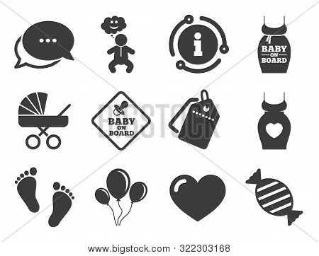 Newborn, Strollers And Pacifier Signs. Discount Offer Tag, Chat, Info Icon. Pregnancy, Maternity And