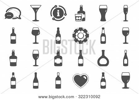 Wine Bottle Icons. Set Of Craft Beer, Whiskey And Wine Glass Icons. Champagne Bottle, Alcohol Drink