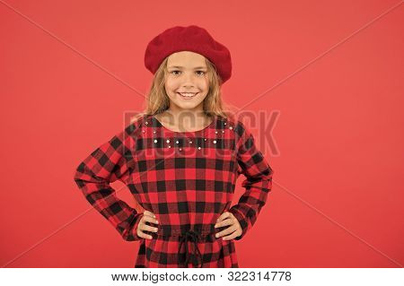 How To Wear Beret Like Fashion Girl. Fashionable Beret Accessory For Female. Kid Little Cute Girl Wi