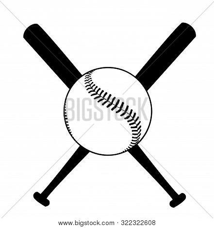 Baseball Illustration With Baseball Bat Design Art
