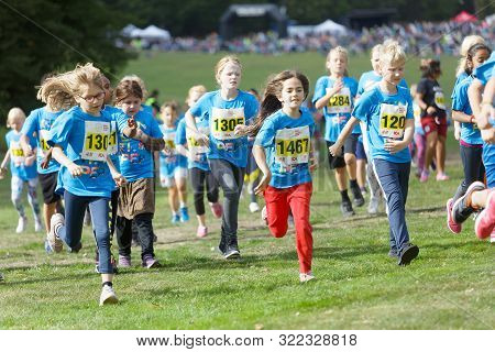 Stockholm - Sept 08, 2019: Many Kids Running During The Generation Pep Day In Hagaparken To Encourag
