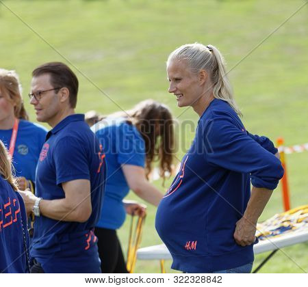 Stockholm - Sept 08, 2019: Heptathlon Athlete Carolina Kluft And Prins Daniel Preparing Tp Hand Out