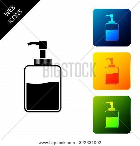 Hand Sanitizer Bottle Icon Isolated On White Background. Disinfection Concept. Washing Gel. Alcohol