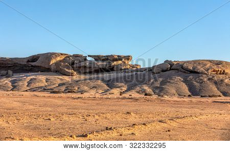 Rock Formation Vogelfederberg In Namib Desert, Sunset Scene, Landscape, Namibia, Africa Wilderness