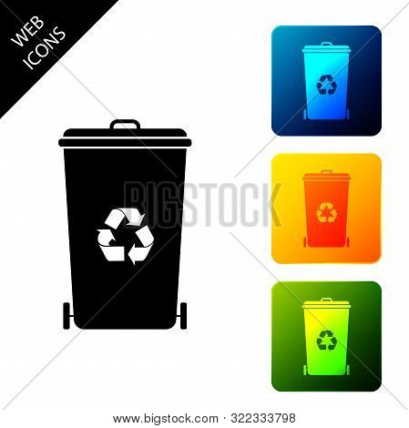 Recycle Bin With Recycle Symbol Icon Isolated On White Background. Trash Can Icon. Garbage Bin Sign.