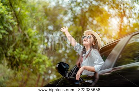 Enjoy Car Travel Of Woman Driving With Sunglasses Journey At Nature Forest In Summer Vacation Road T
