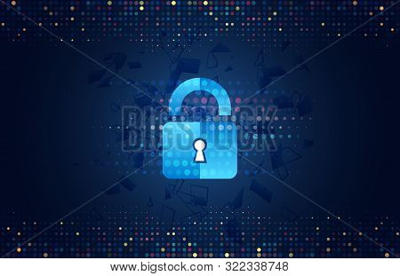 Abstract Security Digital Technology Background. Internet And Networking Protection. Cyber Security