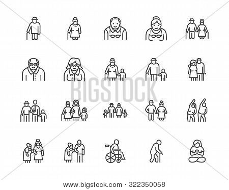 Elder People Care Flat Line Icons Set. Senior Couple, Nursing Home, Happy Old Man Exercising, Patien