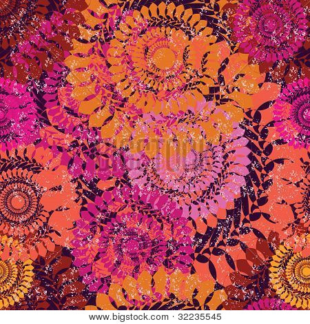 Seamless Grunge Abstract Floral Pattern