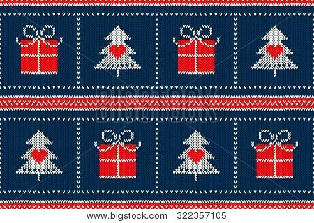 Winter Holiday Seamless Knitted Pattern With A Christmas Symbols: Christmas Tree And Present Box. Sc