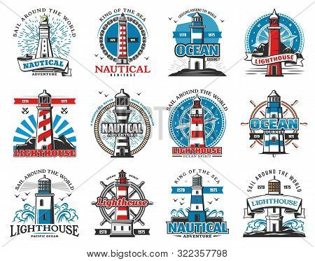 Lighthouse Heraldic Icons, Seafarer Marine Safety Sailing And Sailor Adventure Heritage. Vector Sea