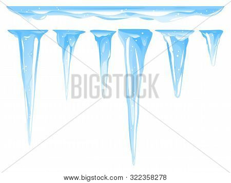 Blue Frozen Icicle Cluster Hanging Down From Snow-covered Ice Surface, Set Of Different Quality Deta