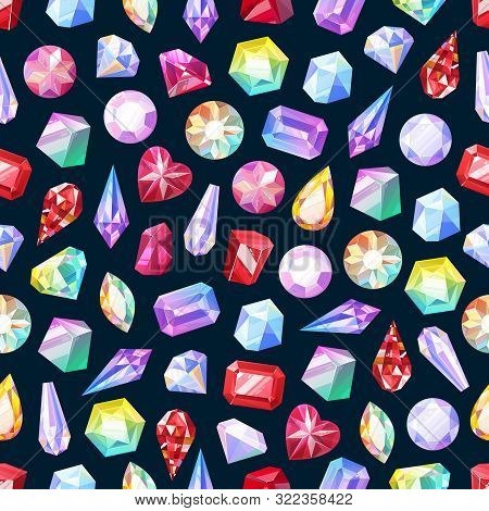 Gemstones Seamless Pattern Of Gem Jewels, Diamonds And Jewelry Precious Stones. Vector Background Of