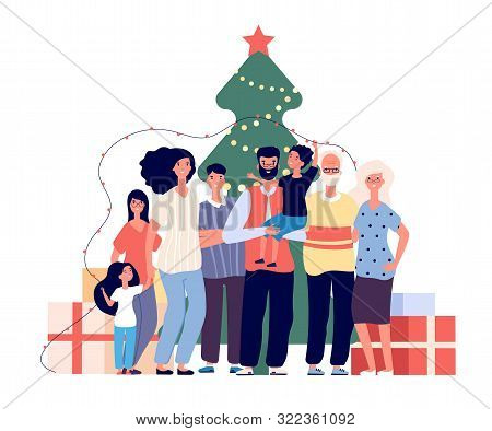 Family At Christmas Tree. Smiling Adults And Kids Celebrate Christmas At Home. Xmas And Winter Holid