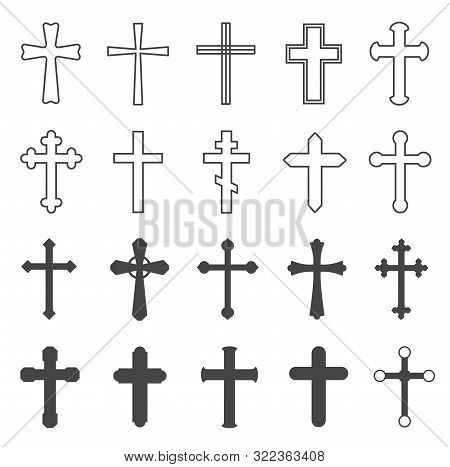 Christian Crosses. Decorative Crucifix Religion Catholic Symbol, Orthodox Faith Church Cross Design,