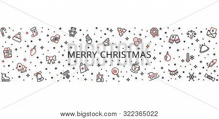 Christmas Ornament. Holiday Decoration Element. Vector Christmas Border With Line Festive Icons. Ill