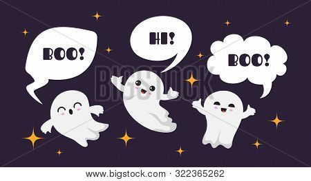 Cute Happy Ghosts. Flat Ghost Vector Character. Halloween Boo Background. Illustration Ghost Hallowe